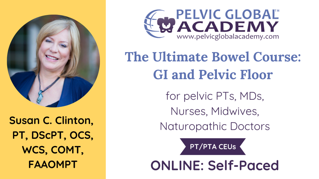 Susan Clinton's Ultimate Bowel course for pelvic physical therapists and medical professionals.