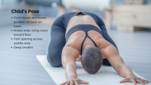 Child's pose for pelvic floor relaxation