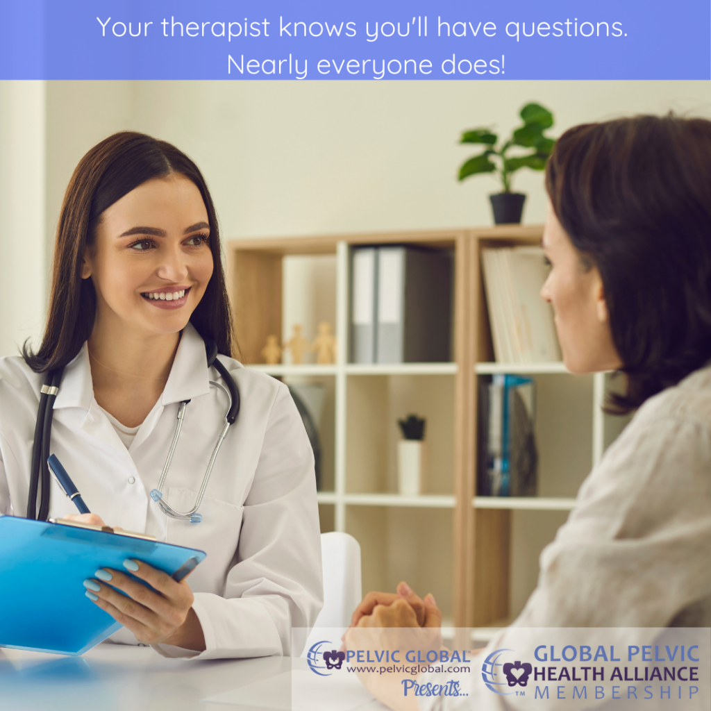 Female clinician interviewing a patient